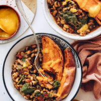 Two spicy black eyed pea nourish bowls