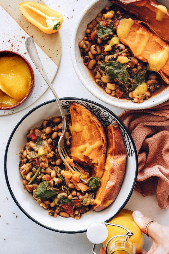 Spicy Black Eyed Pea Nourish Bowls