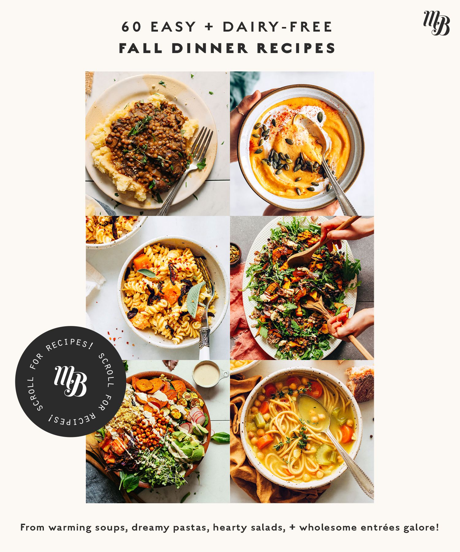 Assortment of easy dairy-free fall dinner recipes