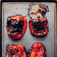 Sheet pan of roasted red peppers