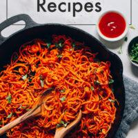 A cast iron pan of gluten-free sweet potato noodles