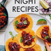 Plate of smoky vegan lentil tacos