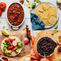 Gallery of vegan recipes for taco night including vegan salsa roja, homemade corn tortillas, vegan chorizo tacos, 1-pot black beans, best vegan guacamole, and roasted vegetable tacos with magic green sauce