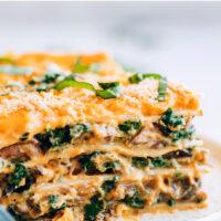Slice of vegan butternut squash lasagna on a plate
