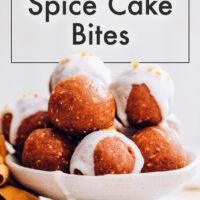 Plate of vegan and gluten-free no-bake pumpkin spice cake bites
