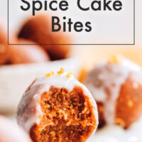 A vegan, gluten-free, no-bake pumpkin spice cake bite with a bite taken out of it